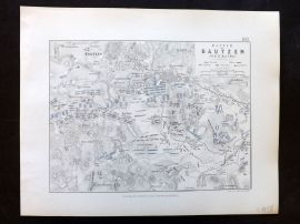 Alison & Johnston 1852 Battle Map. Battle of Bautzen. Germany
